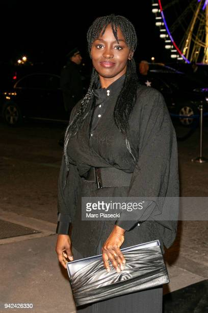 Actress Aissa Maiga arrives to attend the 'Madame Figaro' dinner at Automobile Club de France on April 5 2018 in Paris France