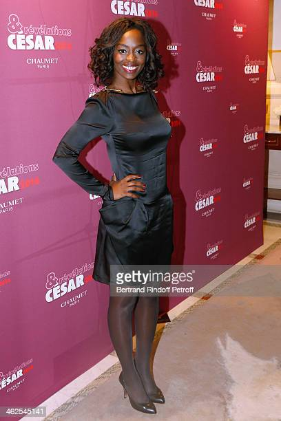 Actress Aissa Maiga at the Chaumet's Cocktail Party for Cesar's Revelations 2014 at Musee Chaumet followed by a dinner at Hotel Meurice on January 13...