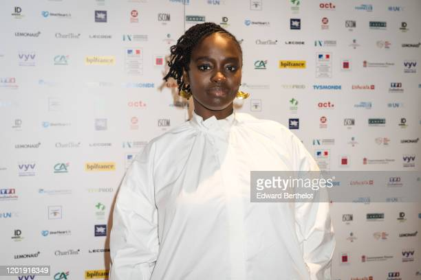 Actress Aissa Maiga attends the Le temps Presse Festival Closing Ceremony photocall At UGC LyonBastille In Paris on January 24 2020 in Paris France