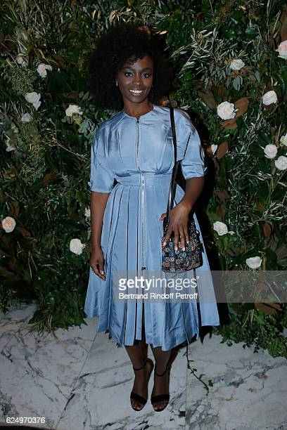 Actress Aissa Maiga dressed in Dior attends the 'Diner des amis de Care' for the 70th anniversary of the Association Held at Espace Cambon on...