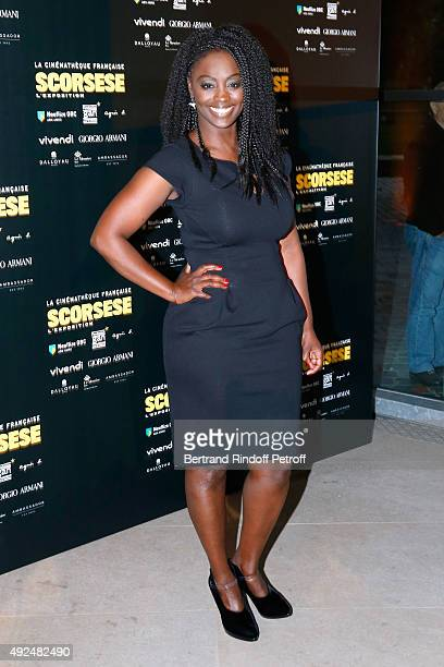 Actress Aissa Maiga wearing Giorgio Armani's Dress attends the Tribute to Director Martin Scorsese at Cinematheque Francaise on October 13 2015 in...