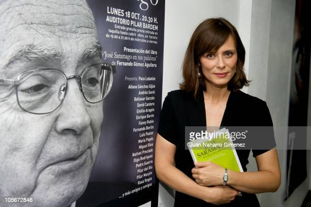 Actress Aitana Sanchez Gijon attends Jose Saramago's tribute at Auditorio Pilar Bardem on October 18 2010 in RivasVaciamadrid Spain
