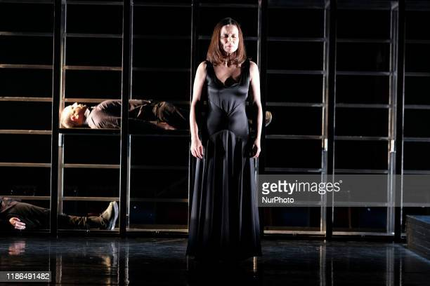 Actress Aitana Sanchez Gijon during performance of Juana theater play in the theater Espanol of Madrid on December 04 2019 in Madrid Spain