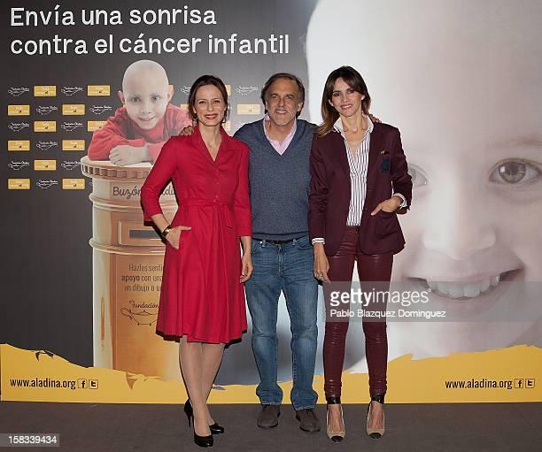 Actress Aitana Sanchez Gijon Paco Arango and actress Goya Toledo attend the presentation of the Aladina Center on December 13 2012 in Madrid Spain