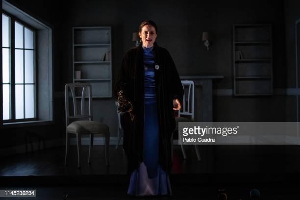 Actress Aitana SanchezGijon performs on stage La Vuelta De Nora Casa De Muñecas 2 at Bellas Artes Theatre on April 26 2019 in Madrid Spain