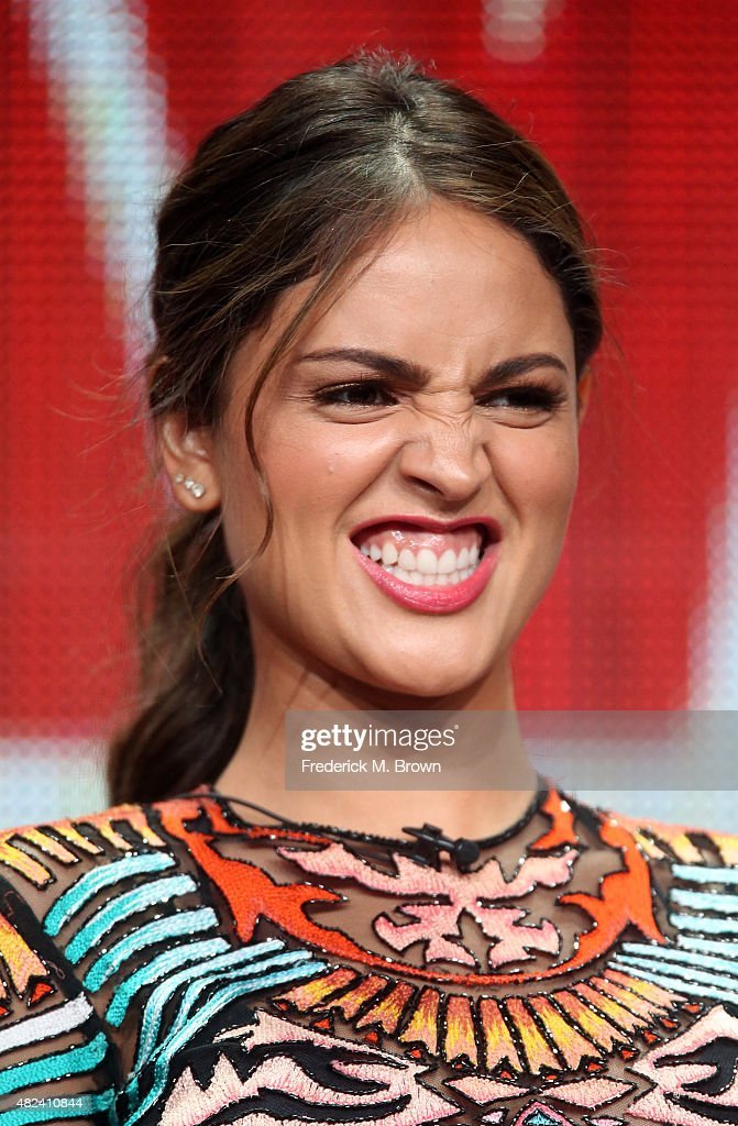 Actress Aiza Gonzalez speaks onstage during the 'From Dusk Til Dawn: The Series' panel discussion at the El Rey Network portion of the 2015 Summer TCA Tour at The Beverly Hilton Hotel on July 30, 2015 in Beverly Hills, California.