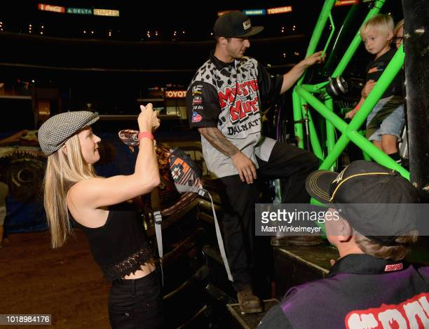 Actress AJ Cook and son Phoenix Anderson attend Monster Jam at STAPLES Center on Saturday August 18 2018 in Los Angeles CAa