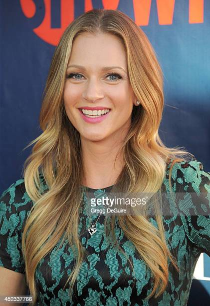 Actress AJ Cook arrives at the 2014 Television Critics Association Summer Press Tour CBS CW And Showtime Party at Pacific Design Center on July 17...