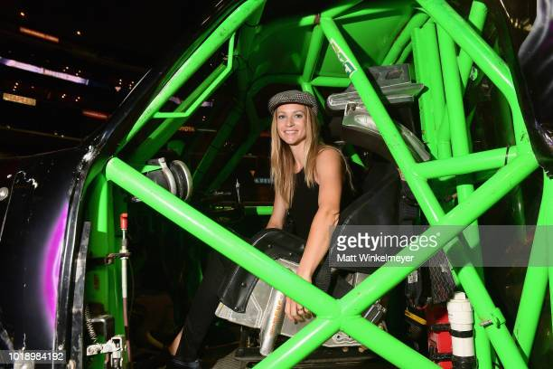 Actress AJ Cook attends Monster Jam at STAPLES Center on Saturday August 18 2018 in Los Angeles CAa