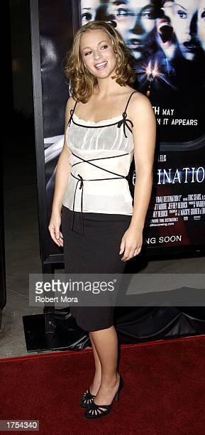 Actress AJ Cook attends the world premiere of 'Final Destination 2' at the Arclight Cinerama Dome on January 30 2003 in Hollywood California The film...