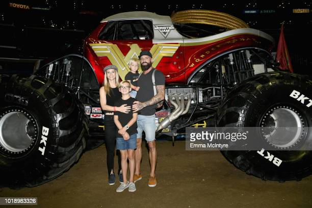 Actress AJ Cook Mekhai Anderson Phoenix Anderson and Nathan Anderson attend Monster Jam at STAPLES Center on Saturday August 18 2018 in Los Angeles CA