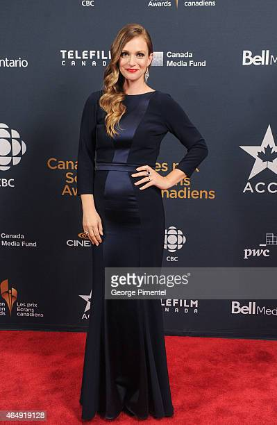 Actress AJ Cook poses in the press room at the 2015 Canadian Screen Awards at the Four Seasons Centre for the Performing Arts on March 1 2015 in...