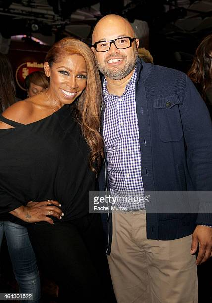 Actress AJ Johnson and TV One's Jubba Seyyid attend TV One's 'Hello Beautiful Interludes Live' featuring NeYo at The Conga Room in LA Live on...