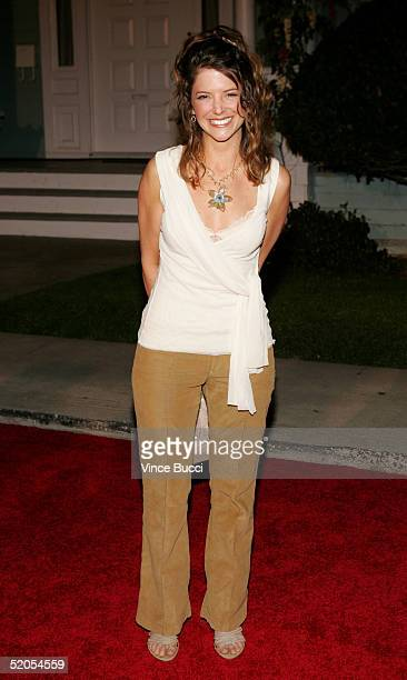 Actress AJ Langer arrives at the ABC's Winter Press Tour Party on Wisteria Lane on January 23 2004 in Universal City California