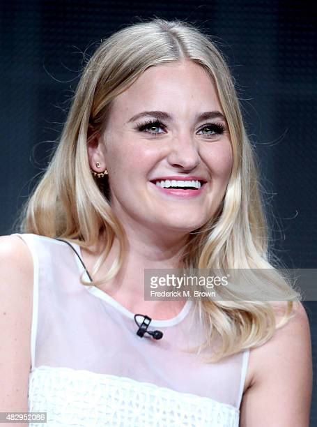 Actress AJ Michalka speaks onstage during the 'The Goldbergs' panel discussion at the ABC Entertainment portion of the 2015 Summer TCA Tour at The...