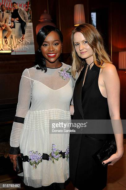 Actress Aja Naomi King and stylist Annabelle Harron attend The Hollywood Reporter and Jimmy Choo's Power Stylists Dinner at Sunset Tower on March 15...