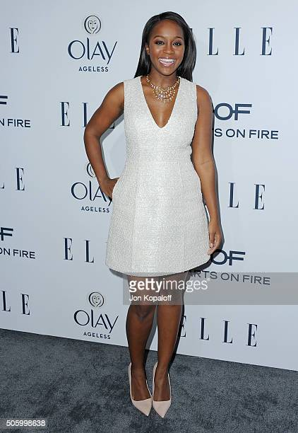 Actress Aja Naomi King arrives at ELLE's 6th Annual Women In Television Dinner at Sunset Tower Hotel on January 20 2016 in West Hollywood California