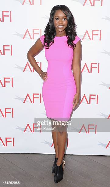 Actress Aja Naomi King arrives at the 15th Annual AFI Awards at Four Seasons Hotel Los Angeles at Beverly Hills on January 9 2015 in Beverly Hills...