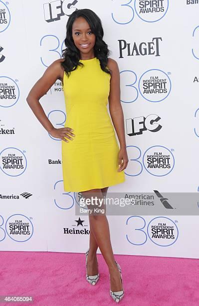 Actress Aja Naomi King arrives at the 2015 Film Independent Spirit Awards at Santa Monica Beach on February 21 2015 in Santa Monica California