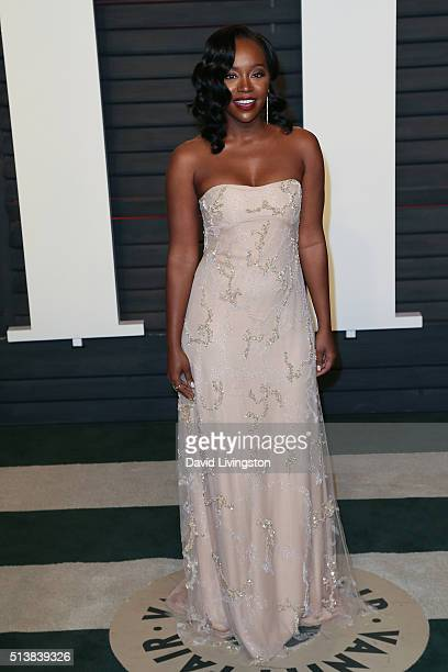 Actress Aja Naomi King arrives at the 2016 Vanity Fair Oscar Party Hosted by Graydon Carter at the Wallis Annenberg Center for the Performing Arts on...