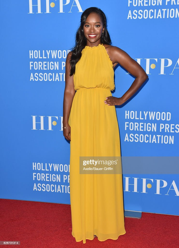 Actress Aja Naomi King arrives at the Hollywood Foreign Press Association's Grants Banquet at the Beverly Wilshire Four Seasons Hotel on August 2, 2017 in Beverly Hills, California.