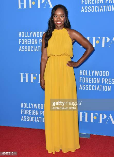 Actress Aja Naomi King arrives at the Hollywood Foreign Press Association's Grants Banquet at the Beverly Wilshire Four Seasons Hotel on August 2...