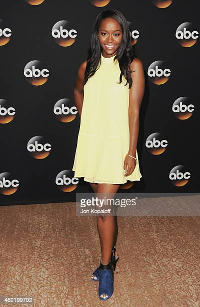 Actress Aja Naomi King arrives the Disney|ABC Television Group 2014 Television Critics Association Summer Press Tour at The Beverly Hilton Hotel on...