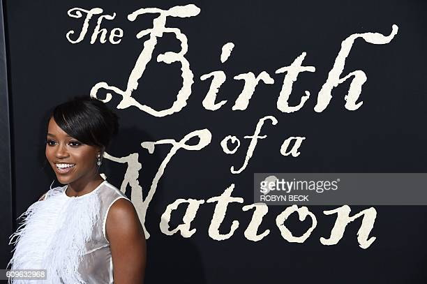 Actress Aja Naomi King attends a premiere of the film The Birth of a Nation September 21 2016 at ArcLight Cinemas in Hollywood California / AFP /...