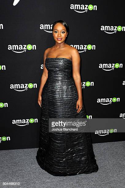 Actress Aja Naomi King attends Amazon Studios Golden Globe Awards Party at The Beverly Hilton Hotel on January 10 2016 in Beverly Hills California