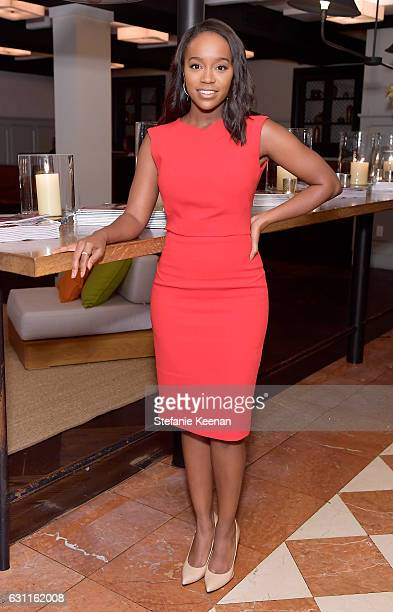 Actress Aja Naomi King attends Lynn Hirschberg Celebrates W Magazine's It Girls with Stuart Weitzman at AOC on January 7 2017 in Los Angeles...