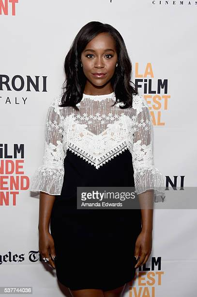 Actress Aja Naomi King attends Master Class with Nate Parker during the 2016 Los Angeles Film Festival at Arclight Cinemas Culver City on June 2 2016...