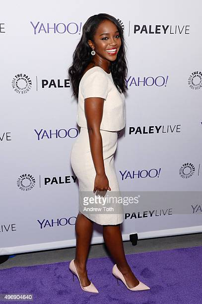 Actress Aja Naomi King attends PaleyLive NY How To Get Away With Murder at The Paley Center for Media on November 12 2015 in New York City