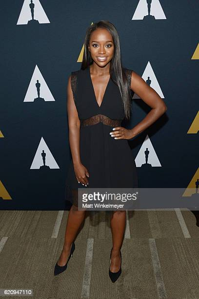 Actress Aja Naomi King attends the 2016 Academy Nicholl Fellowships in Screenwriting Awards presentation and live read at Samuel Goldwyn Theater on...