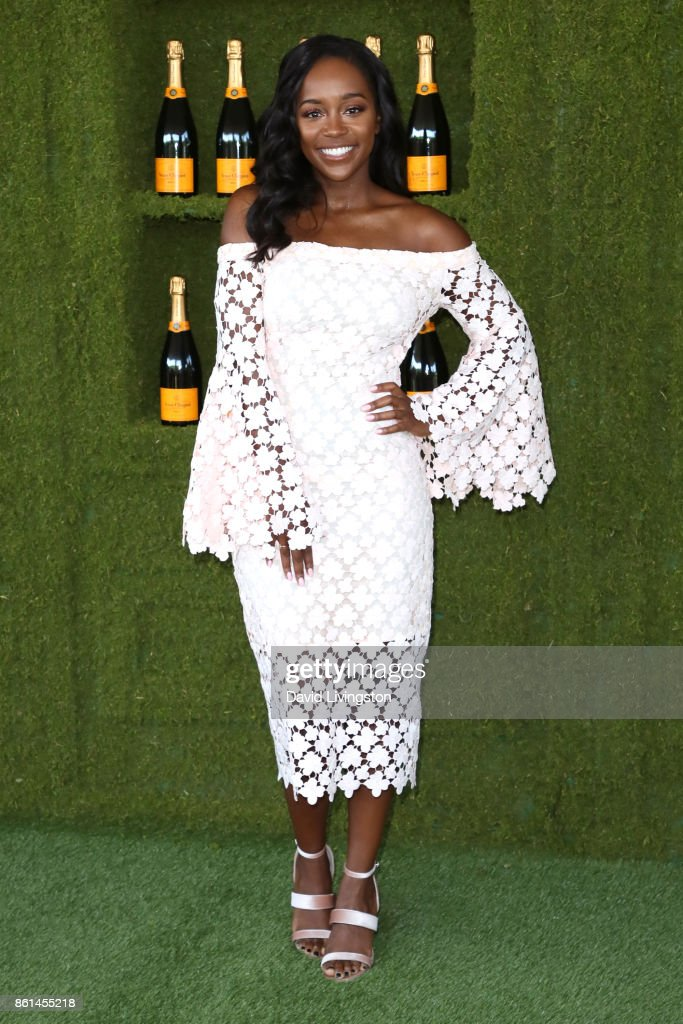 Actress Aja Naomi King attends the 8th Annual Veuve Clicquot Polo Classic at Will Rogers State Historic Park on October 14, 2017 in Pacific Palisades, California.