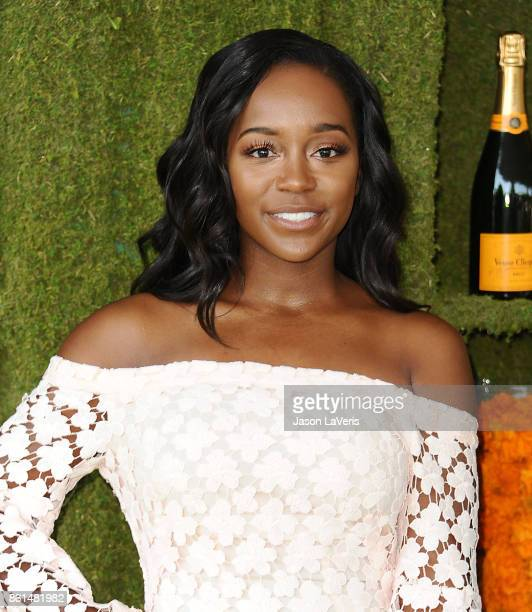 Actress Aja Naomi King attends the 8th annual Veuve Clicquot Polo Classic at Will Rogers State Historic Park on October 14 2017 in Pacific Palisades...