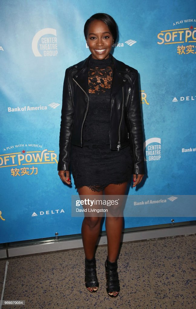 Actress Aja Naomi King attends the opening night of 'Soft Power' presented by the Center Theatre Group at the Ahmanson Theatre on May 16, 2018 in Los Angeles, California.