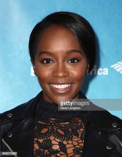Actress Aja Naomi King attends the opening night of 'Soft Power' presented by the Center Theatre Group at the Ahmanson Theatre on May 16 2018 in Los...