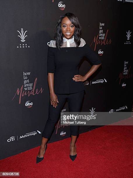 Actress Aja Naomi King attends the premiere of Season 3 of ABC's How To Get Away With Murder at Pacific Theatre at The Grove on September 20 2016 in...
