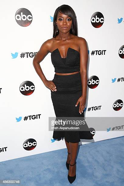 Actress Aja Naomi King attends the TGIT Premiere event at Palihouse on September 20 2014 in West Hollywood California