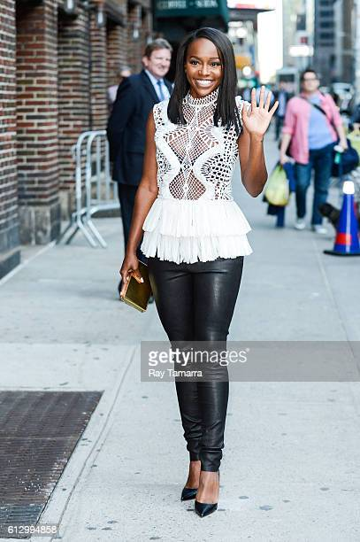 Actress Aja Naomi King enters 'The Late Show With Stephen Colbert' taping at the Ed Sullivan Theater on October 06 2016 in New York City