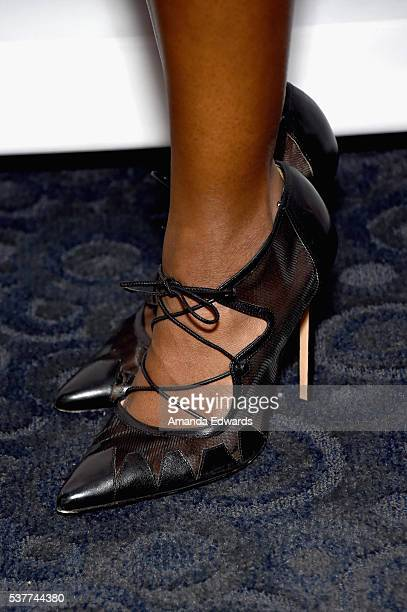 Actress Aja Naomi King shoe detail attends Master Class with Nate Parker during the 2016 Los Angeles Film Festival at Arclight Cinemas Culver City on...