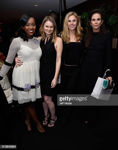Actress Aja Naomi King stylists Annabelle Harron Danica Kalmbach and Cristina Ehrlich attend The Hollywood Reporter and Jimmy Choo's Power Stylists...