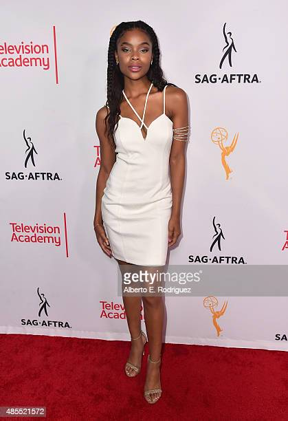 Actress Ajiona Alexus attends a cocktail party celebrating dynamic and diverse nominees for the 67th Emmy Awards hosted by the Academy of Television...