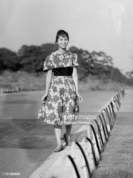 Actress Akiko Wakabayashi poses during the Asahi Shimbun interview on September 2 1960 in Tokyo Japan