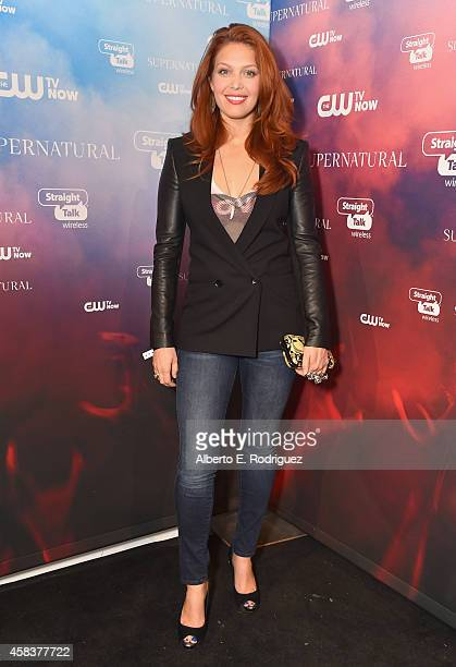 Actress Alaina Huffman attends the CW's Fan Party to Celebrate the 200th episode of 'Supernatural' on November 3 2014 in Los Angeles California