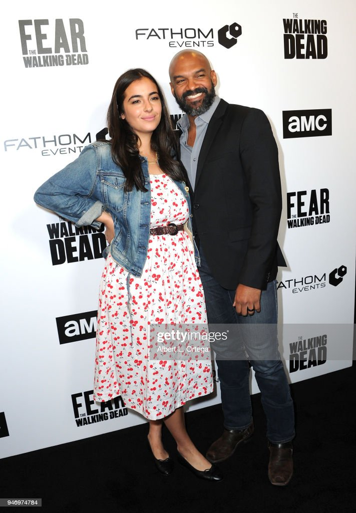 Actress Alana Masterson and actor Khary Payton arrive for the Fathom Events And AMC's 'Survival Sunday: The Walking Dead And Fear The Walking Dead' held at AMC Century City 15 theater on April 15, 2018 in Century City, California.