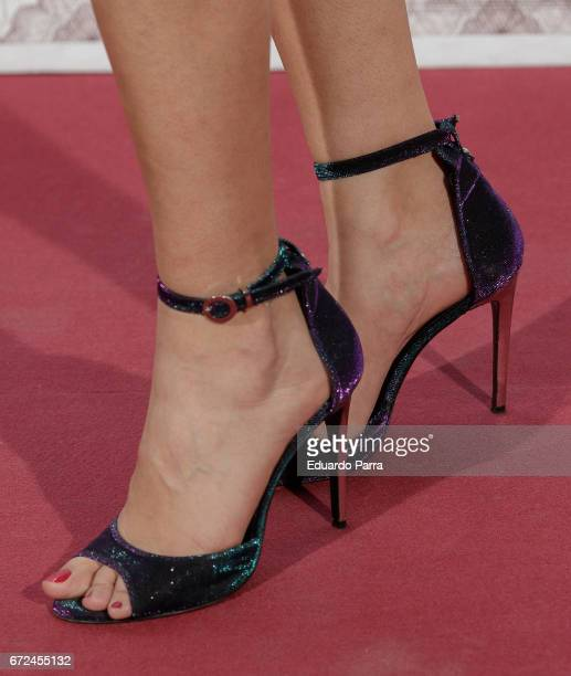 Actress Alba Flores shoes detail attends the 'La casa de papel' photocall at Gran Via cinema on April 24 2017 in Madrid Spain