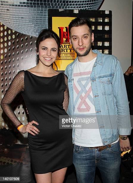 Actress Alejandra Ambrosi and producer/remixer and DJ Russ Chimes attend the JB Whisky 'Join the City Remix' party at Estacion Indianillas on...