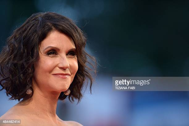 "Actress Alessandra Martines arrives for the screening of the movie ""Hungry Hearts"" presented in competition at the 71st Venice Film Festival on..."