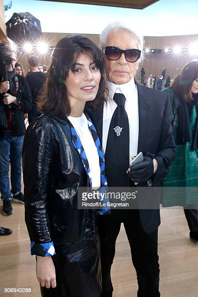 Actress Alessandra Mastronardi and Stylist Karl Lagerfeld pose after the Chanel Spring Summer 2016 show as part of Paris Fashion Week on January 26...